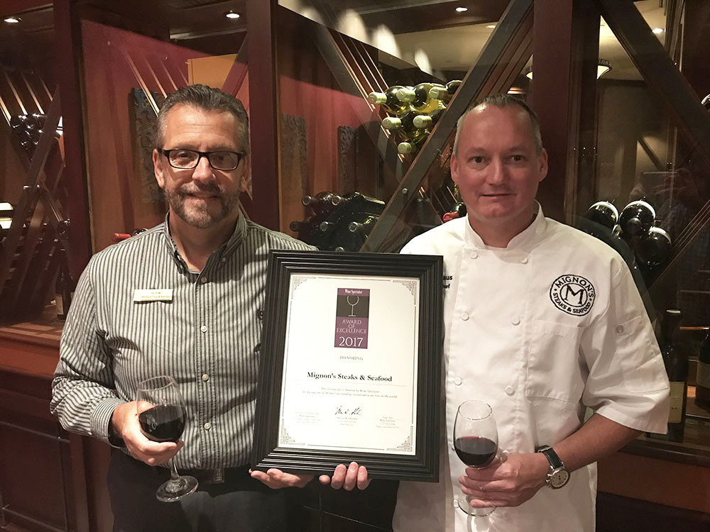 Mignon's Wins 12th Award of Excellence from Wine Spectator Magazine
