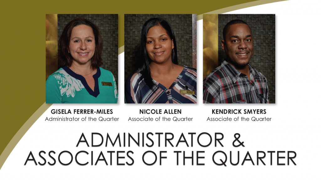 Palace Casino Resort Announces Administrator and Associates of the Quarter